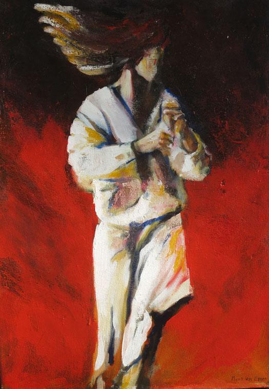 Dansen in het wit op rood