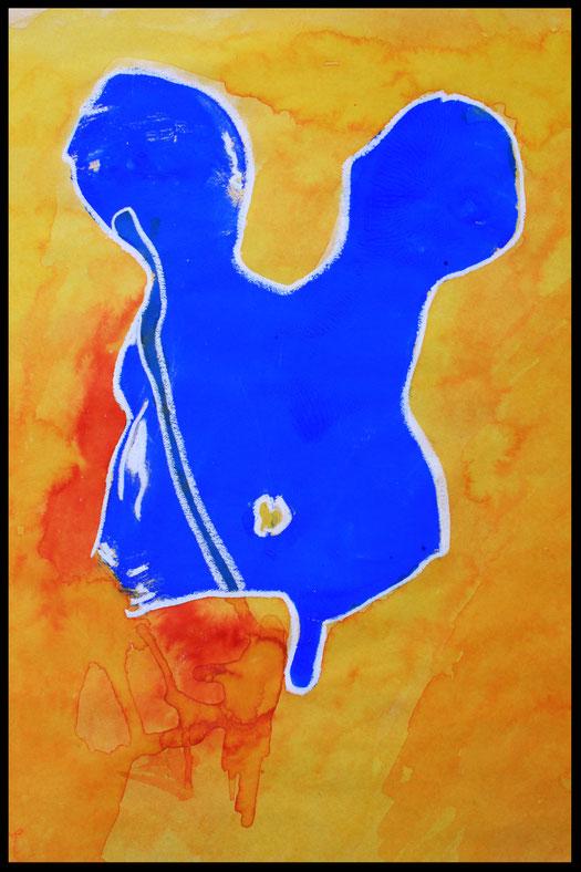 BODYPAINTING - encre, peinture et pastel gras - 2003