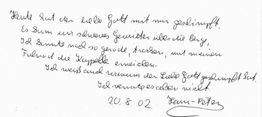 Eintrag aus dem Gästebuch (2002)
