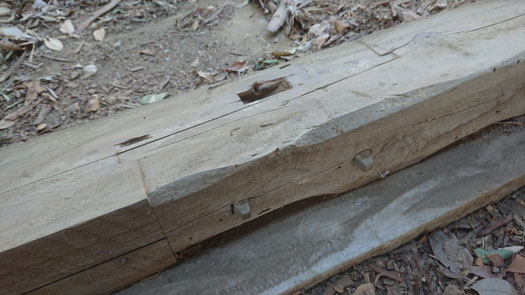 土台(杉の赤身)に作られた追っかけ大栓継ぎ。驚くほどの高い精度でつくられいてる。