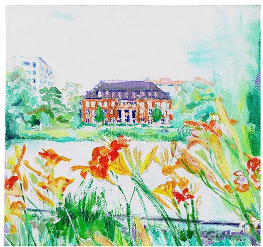 Das Medienhaus am Lietzensee  .  20 x 20 cm  .  Acryl auf Leinwand  .