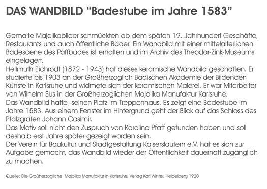 Verein für Baukultur und Stadtgestaltung Kaiserslautern e. V.  - Fliesenbild Text Pfaffbad