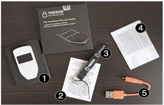 trezor wallet contenuto scatola guida