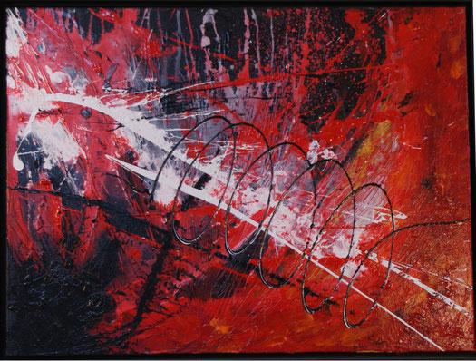 """Spirale in rotweiß""    80x60  Acryl auf Leinwand  2006"