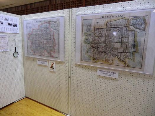 ●企画展では、小金井市の古い地図を沢山展示。虫眼鏡まで用意されていて、地図の世界に没入しました
