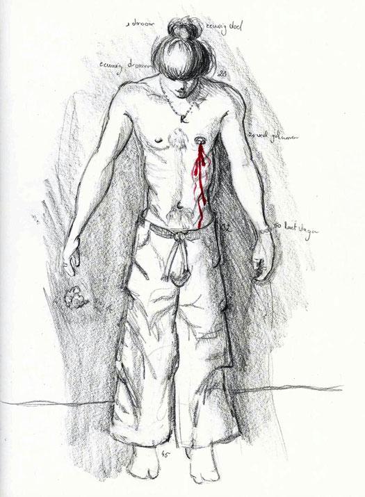 tekening met potlood en rode stift
