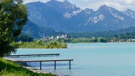 Städtereise Deutschland Füssen und Forggensee mit Allgäuer Alpen