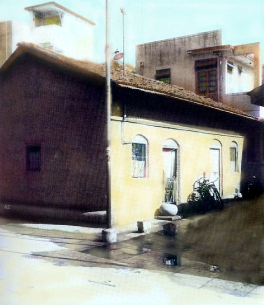 816 Dastur Meher Road, Meher Mohalla Camp, Pune. The first house that Merwan Irani lived in.            Image colourized by Anthony Zois.
