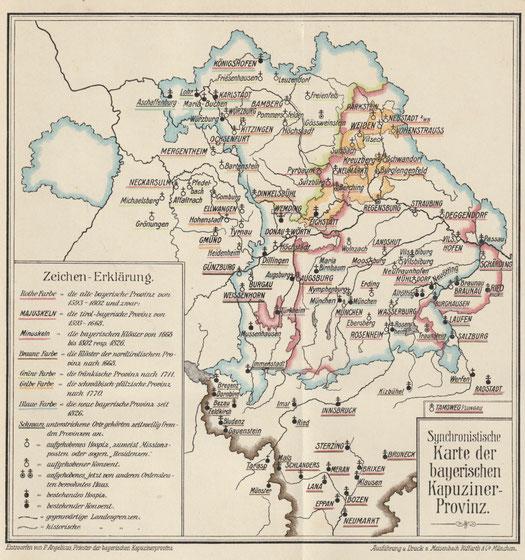 Die Beilage zu Eberls Geschichte der bayerischen Kapuziner zeigt die kapuzinischen Standorte in der Oberpfalz nach 1770.
