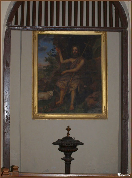 Les fonts baptismaux de l'église Saint Laurent, village d'Aas, Vallée d'Ossau (64)