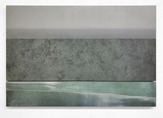 Scaletta IX 2020  Kunstharz, Pigment, Steinmehl, Ölfarbe auf Holz 2 Teile 65 x 130 cm / 21,7 x 130 cm