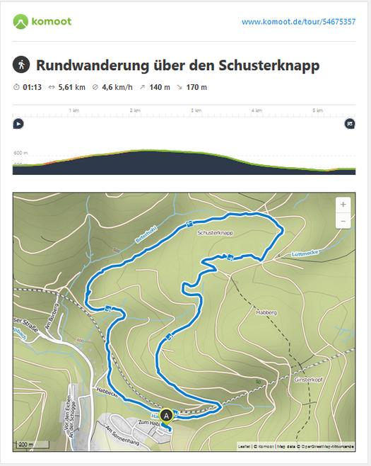 Um den Berg Schusterknapp - viel Wald und Ruhe