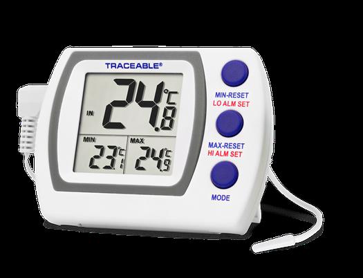 Termómetro digital con sonda plástica externa y certificado trazable a NIST 4727