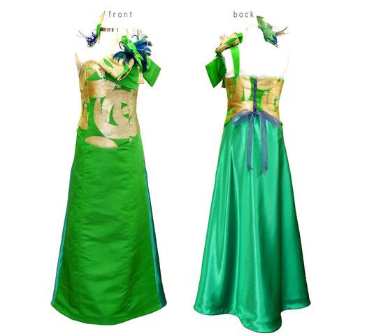 帯とサテン生地で製作したロングドレス