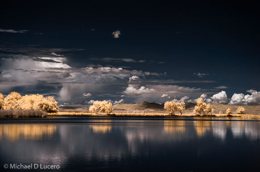 Color infrared photograph of Bountiful Ponds just outside of Salt Lake City, Utah