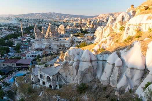 Göreme has many hotels and guesthouses located in sandstone caves