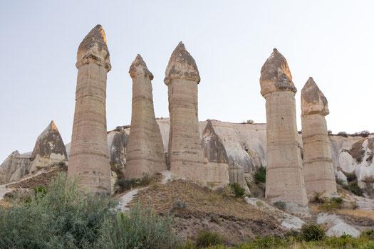 Penis shape sand stones in Love valley of Cappadocia