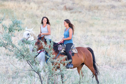 Helene and Viviane riding in Cappadocia