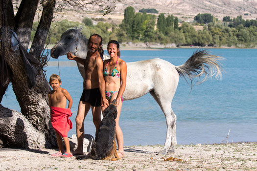 Pablo, Nico and Helene with one of their horses plus dog