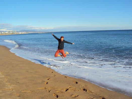 playa, beach, bogatell, ocean, see, barcelona