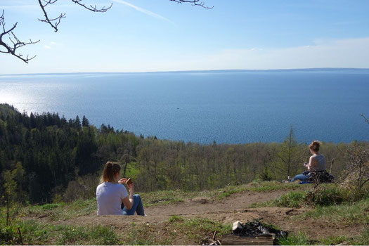 Die Praktikanten genießen die Aussicht und die Sonne auf dem Omberg und über den Vätternsee