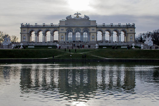 Castle of Schönbrunn in Vienna, reflection Gloriette, Austria
