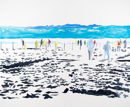Auf dem Schöckl Tempera auf Leinwand, 100 x 100 cm, 2014 © Agnes Christine Katschner