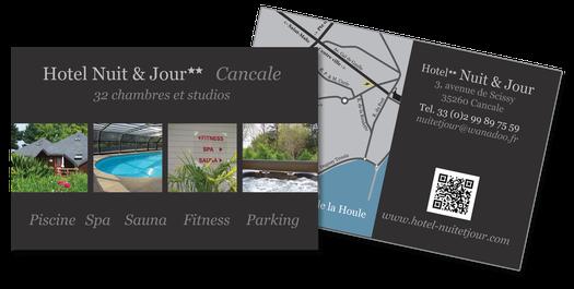 Carte De Visite Et Plan Daccs Hotel Nuit Jour Cancale