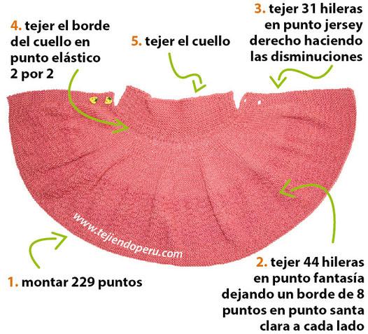 una capa con cuello para niñas de 3 a 4 años en dos agujas o palitos