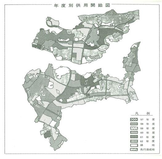港北NT事業年度別供用開始図 S57~62年度概成(S54発表)