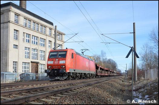 In Chemnitz-Schönau erwischte ich am 25. Februar 2017 den GA 52811 (Braunschweig - Mosel) bespannt mit 185 014-8