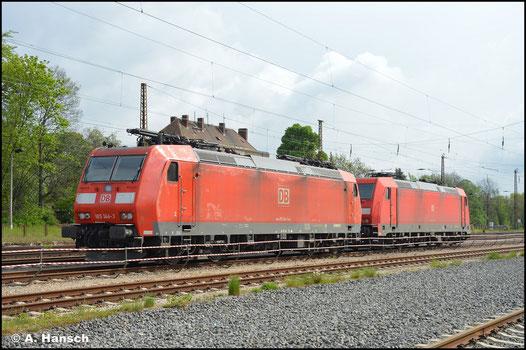 In Leipzig-Wiederitzsch werden gern Lok zwischengestellt. So auch 185 144-3, die ich am 14. Mai 2021 dort antraf