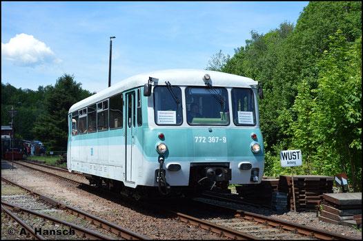 772 367-9 übernahm am 2. Juni 2019 den Pendelverkehr zwischen dem Bf. Schwarzenberg und dem Bw Schwarzenberg, in dem ein Eisenbahnfest stattfand