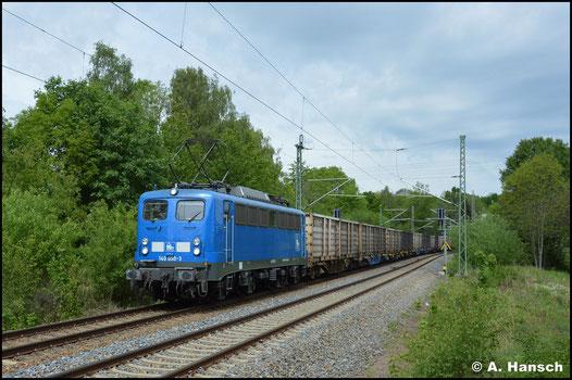 Mit dem Kokszug Bad Schandau - Glauchau passiert 140 833-5 (PRESS 140 050-3) am 22. Mai 2020 den ehem. Abzw. Furth in Chemnitz