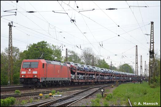 """Am 14. Mai 2021 konnten in Leipzig-Wiederitzsch einige 185er """"gesammelt"""" werden. Dabei war auch 185 310-0, die an einem Autozug zu tun hatte"""