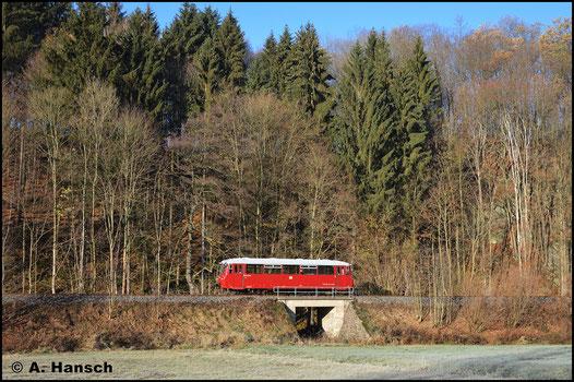 Am 17. November 2018 konnte der Triebwagen bei Falkenau fotografiert werden. Grund der Fahrt waren Personalschulungen von PRESS-Mitarbeitern zur Streckenkenntnis