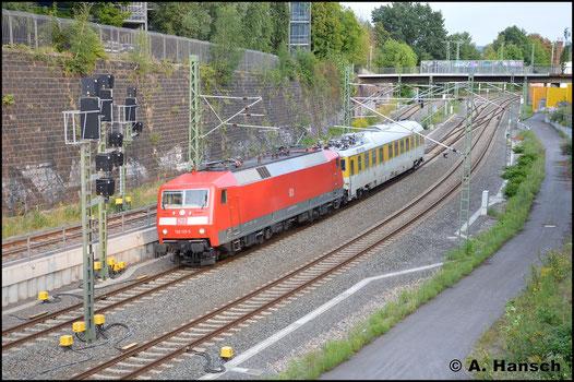 Mit Messzug (75507) konnte ich am 22. August 2017 120 125-0 sichten. Gleich erreicht die Fuhre den Zielbahnhof Chemnitz Hbf.