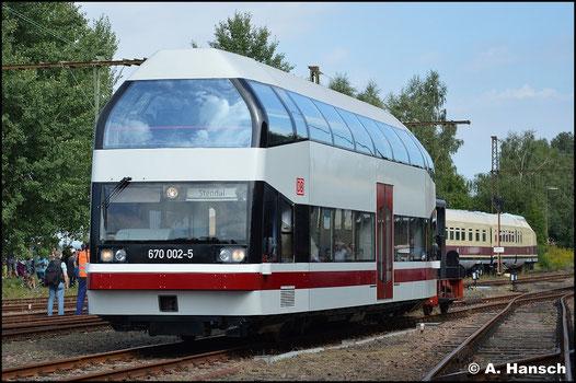 Am 29. August 2015 kann 670 002-5 wieder aus eigener Kraft fahren. Zum 24. Heizhausfest des SEM Chemnitz wird das Fahrzeug präsentiert