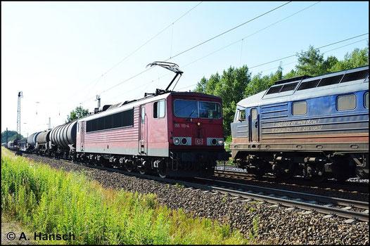 155 113-4 durchfährt am 6. Juli 2015 mit einem Mischer Leipzig-Thekla