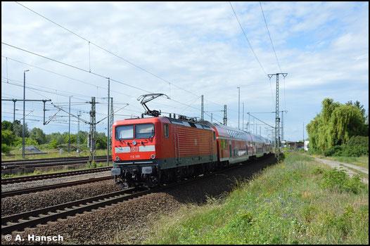 112 185-4 hat am 6.6.2020 mit ihrem RE den Zielbahnhof Luth. Wittenberg Hbf. erreicht