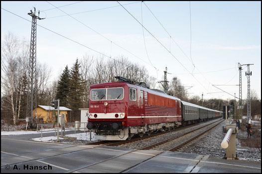 Am 25. Februar 2017 verkehrte der LDC mit einem Sonderzug von Cottbus nach Cranzahl. Als DPE 24866 ging es zunächst bis Chemnitz Hbf. In Chemnitz-Furth entstand dieses Bild