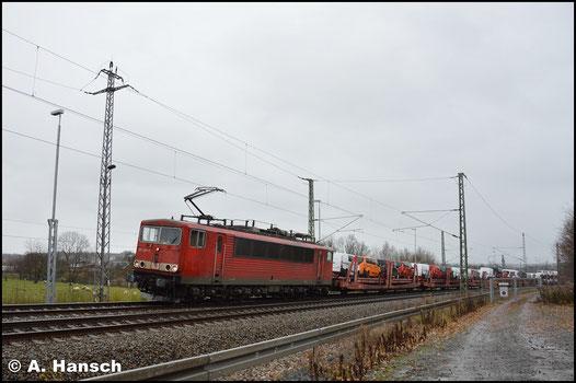 Erst 4 Jahre später, am 28. November 2017, sehe ich die Lok wieder. Mit dem Mischer EZ 51720 durchfährt sie Chemnitz-Furth in Richtung Riesa