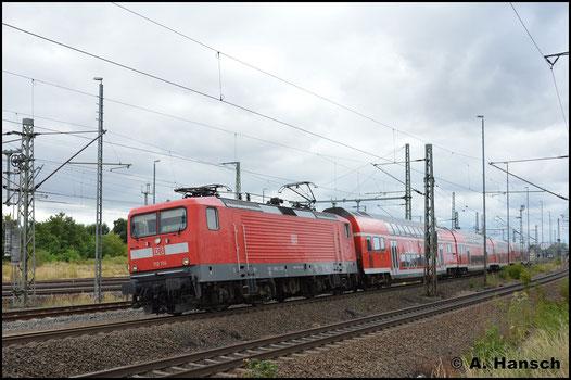 Mit RE 3 nach Berlin verlässt 112 114-4 am 5. August 2018 Luth. Wittenberg Hbf.