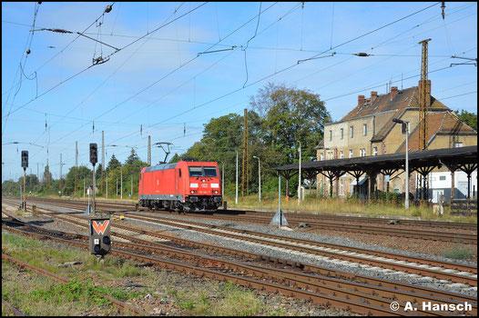 Nur Lz, dafür im besten Licht, rollt 185 284-7 am 2. September 2020 durch Leipzig-Wiederitzsch