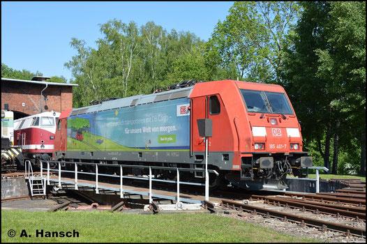 Am 14. Mai 2018 war Bw-Fest in Schwarzenberg. Auch 185 401-7 war zu Gast und wird hier gerade auf der Drehscheibe präsentiert