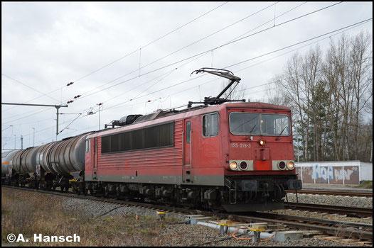 Nochmal anders, nämlich ohne DB-Keks und für Railpool im Einsatz, treffe ich 155 019-3 nochmals in Leipzig-Thekla an (29. Januar 2018)