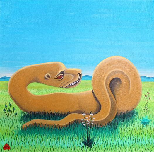 """""""Serpent"""" acrylique sur toile, 40x40 cm, Kinder-k 2018"""