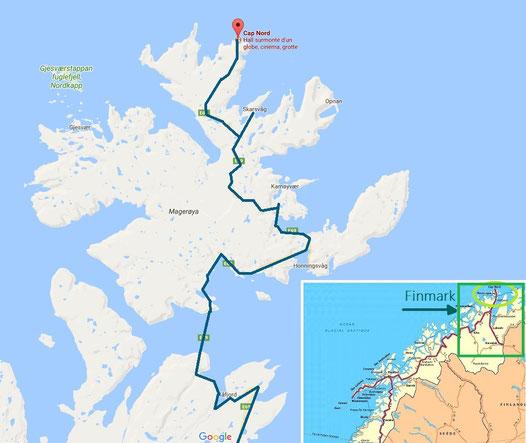 carte cap nord norvege