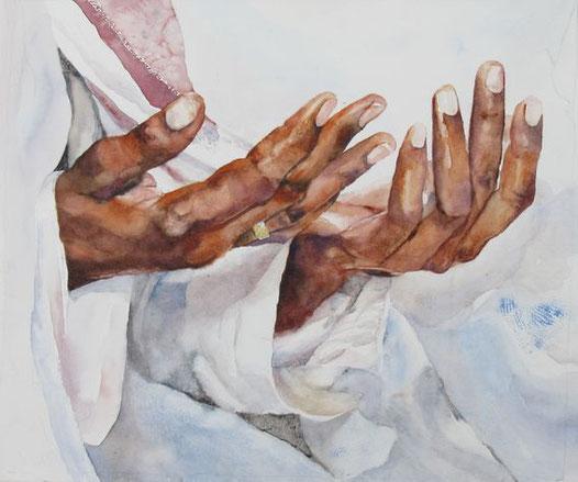 Bittet, so wird euch gegeben. Aquarell von Gabriele Koenigs (2017). Erhältlich als Kunstkarte und als Originalbild.