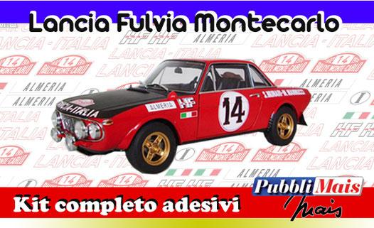 grafica graphics sticker decal kit completo adesivi sponsor originali per lancia fulvia montecarlo 1972 di pubblimais torino